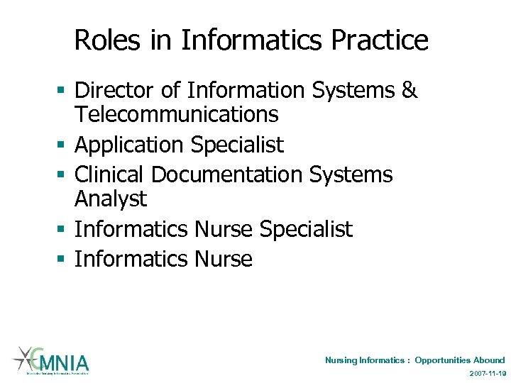 Roles in Informatics Practice § Director of Information Systems & Telecommunications § Application Specialist