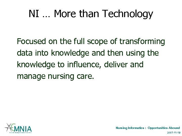 NI … More than Technology Focused on the full scope of transforming data into