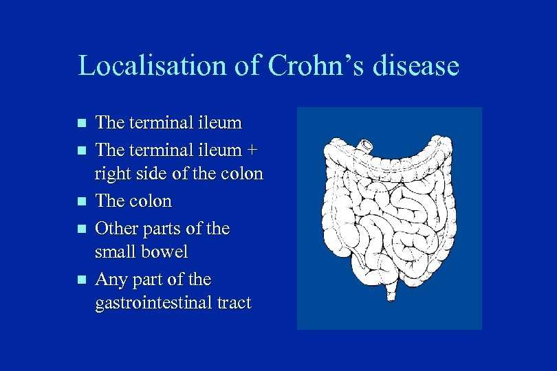 Localisation of Crohn's disease n n n The terminal ileum + right side of