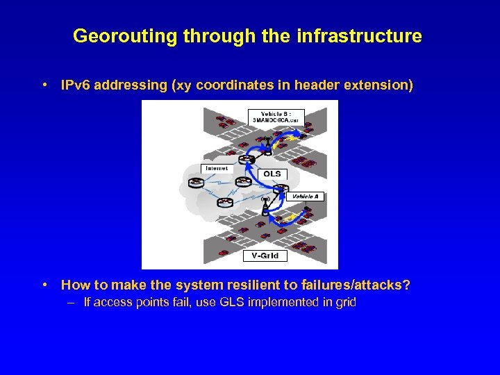 Georouting through the infrastructure • IPv 6 addressing (xy coordinates in header extension) •