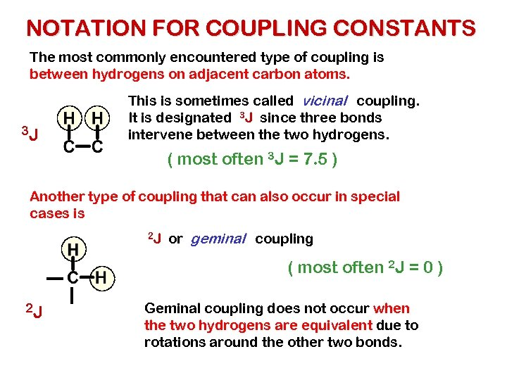 NOTATION FOR COUPLING CONSTANTS The most commonly encountered type of coupling is between hydrogens