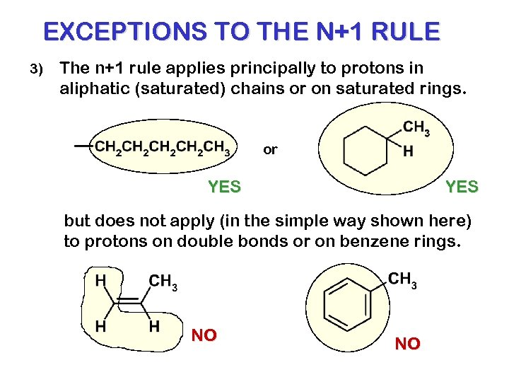 EXCEPTIONS TO THE N+1 RULE 3) The n+1 rule applies principally to protons in
