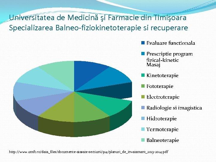 Universitatea de Medicină şi Farmacie din Timişoara Specializarea Balneo-fiziokinetoterapie si recuperare http: //www. umft.