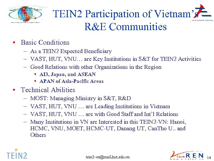 TEIN 2 Participation of Vietnam's R&E Communities • Basic Conditions – As a TEIN