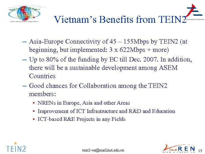 Vietnam's Benefits from TEIN 2 – Asia-Europe Connectivity of 45 – 155 Mbps by