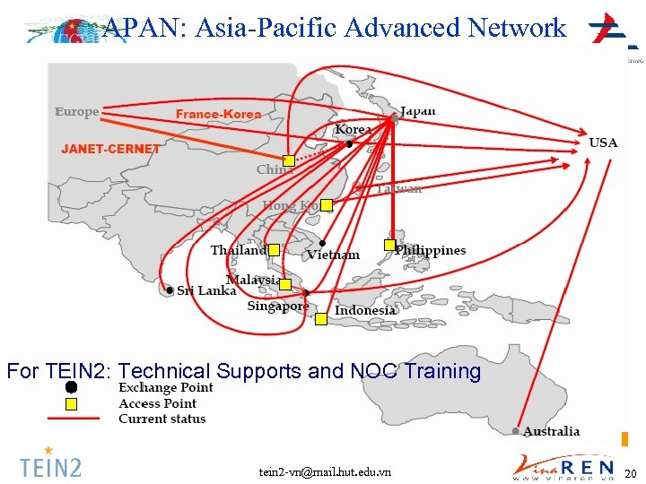 APAN: Asia-Pacific Advanced Network For TEIN 2: Technical Supports and NOC Training tein 2