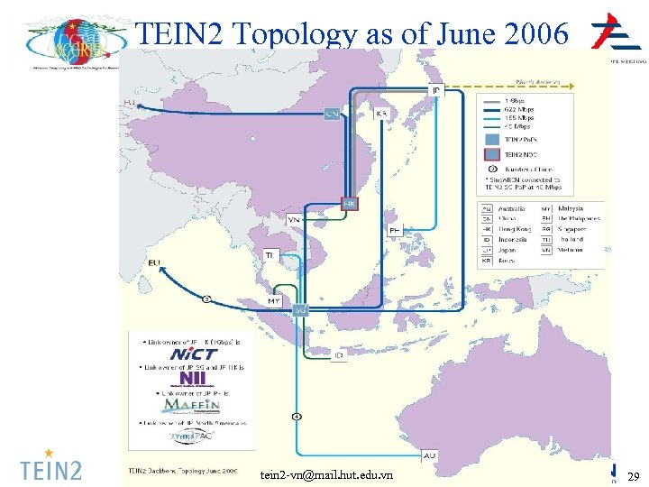 TEIN 2 Topology as of June 2006 tein 2 -vn@mail. hut. edu. vn 29