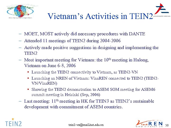 Vietnam's Activities in TEIN 2 – MOET, MOST actively did necessary procedures with DANTE