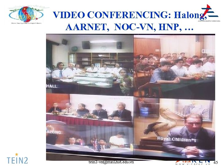 VIDEO CONFERENCING: Halong, AARNET, NOC-VN, HNP, … tein 2 -vn@mail. hut. edu. vn 45