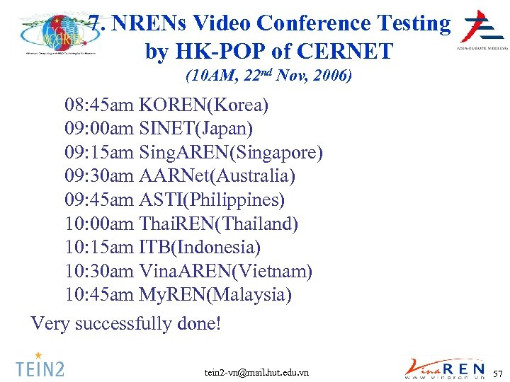 7. NRENs Video Conference Testing by HK-POP of CERNET (10 AM, 22 nd Nov,