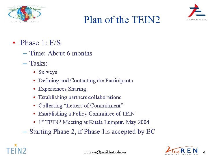 Plan of the TEIN 2 • Phase 1: F/S – Time: About 6 months