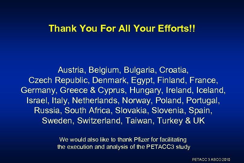 Thank You For All Your Efforts!! Austria, Belgium, Bulgaria, Croatia, Czech Republic, Denmark, Egypt,