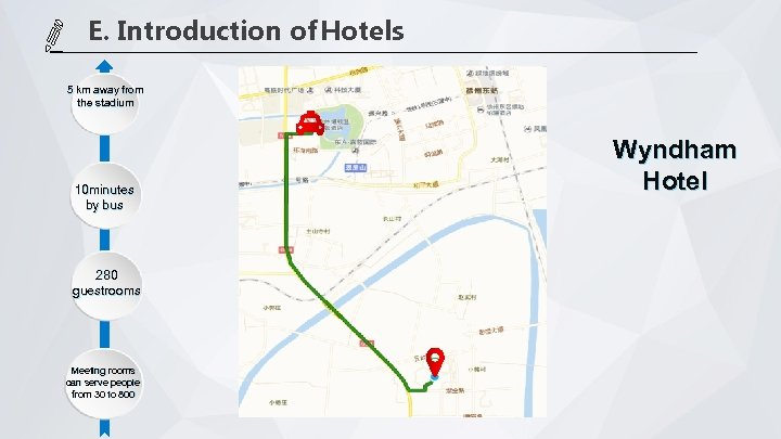 E. Introduction of Hotels 5 km away from the stadium 10 minutes by bus