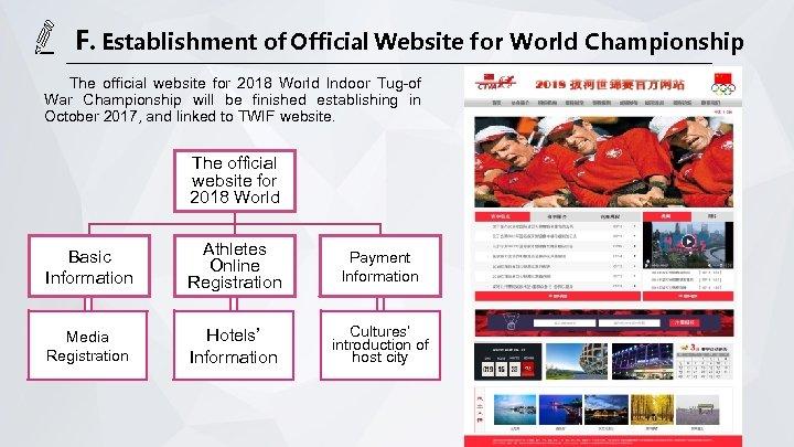 F. Establishment of Official Website for World Championship The official website for 2018 World