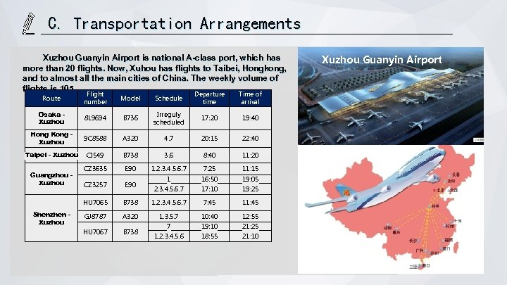 C. Transportation Arrangements Xuzhou Guanyin Airport is national A-class port, which has more than