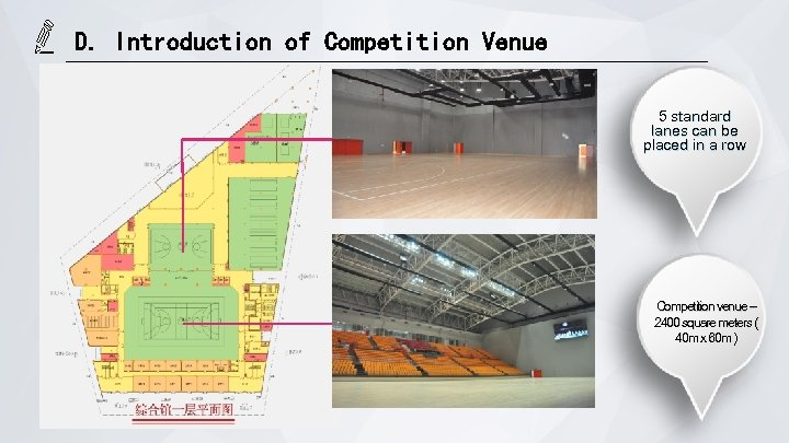 D. Introduction of Competition Venue 5 standard lanes can be placed in a row