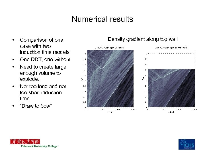 Numerical results • • • Comparison of one case with two induction time models