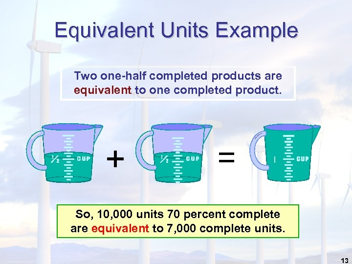 Equivalent Units Example Two one-half completed products are equivalent to one completed product. +