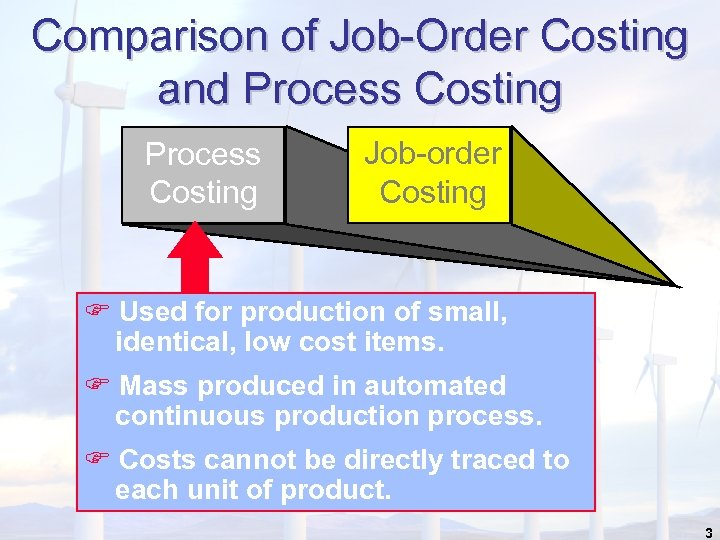 Comparison of Job-Order Costing and Process Costing Job-order Costing F Used for production of
