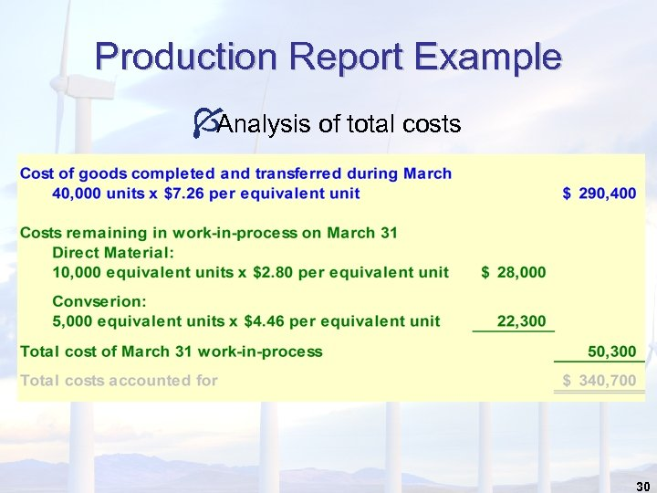 Production Report Example Í Analysis of total costs 30