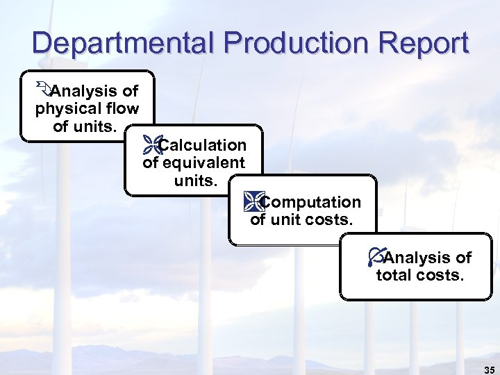 Departmental Production Report Ê Analysis of physical flow of units. Ë Calculation of equivalent