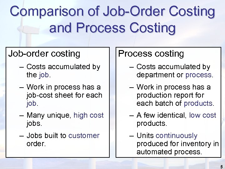 Comparison of Job-Order Costing and Process Costing Job-order costing Process costing – Costs accumulated