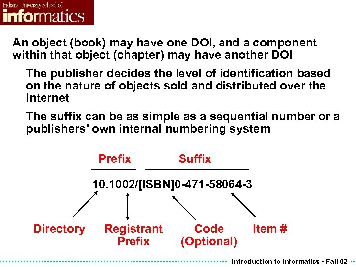 An object (book) may have one DOI, and a component within that object (chapter)