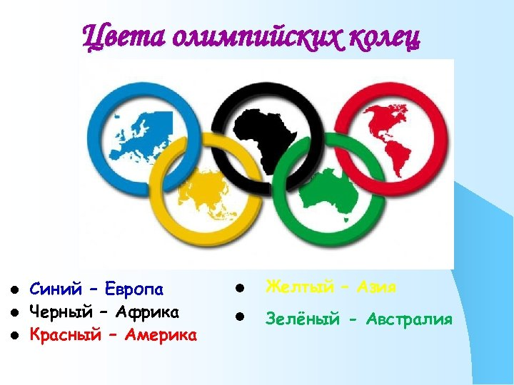 Цвета олимпийских колец l l l Синий – Европа Черный – Африка Красный –