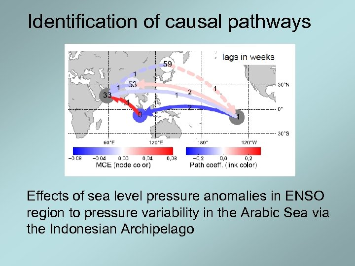 Identification of causal pathways Effects of sea level pressure anomalies in ENSO region to