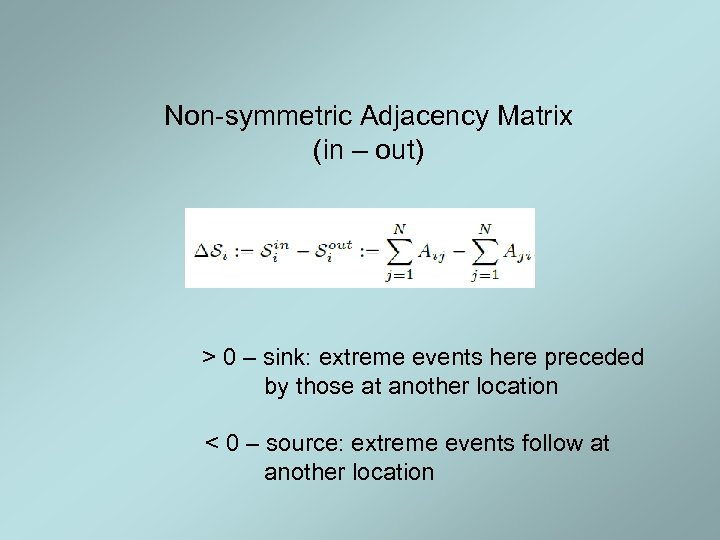 Non-symmetric Adjacency Matrix (in – out) > 0 – sink: extreme events here preceded