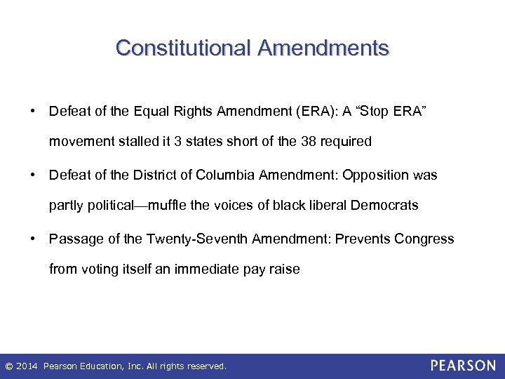 """Constitutional Amendments • Defeat of the Equal Rights Amendment (ERA): A """"Stop ERA"""" movement"""