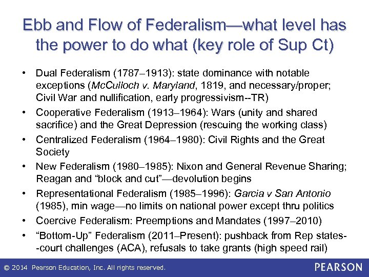 Ebb and Flow of Federalism—what level has the power to do what (key role