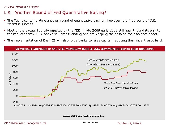 A. Global Forecast Highlights U. S. : Another Round of Fed Quantitative Easing? §