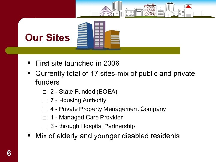 Our Sites § First site launched in 2006 § Currently total of 17 sites-mix