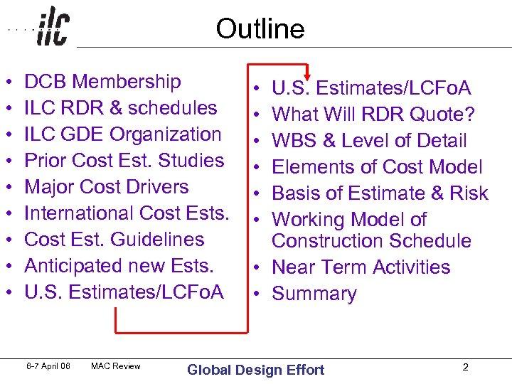 Outline • • • DCB Membership ILC RDR & schedules ILC GDE Organization Prior