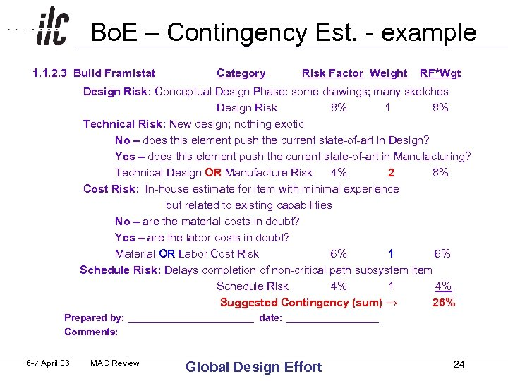 Bo. E – Contingency Est. - example 1. 1. 2. 3 Build Framistat