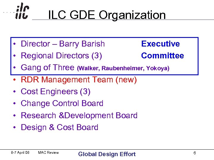 ILC GDE Organization • • Director – Barry Barish Executive Regional Directors (3) Committee