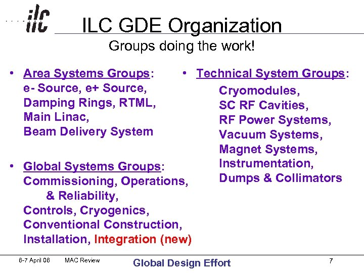 ILC GDE Organization Groups doing the work! • Area Systems Groups: e- Source, e+