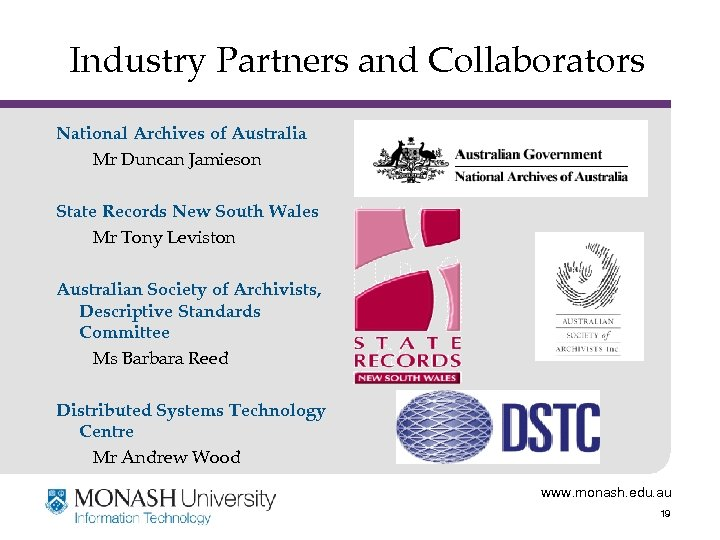 Industry Partners and Collaborators National Archives of Australia Mr Duncan Jamieson State Records New