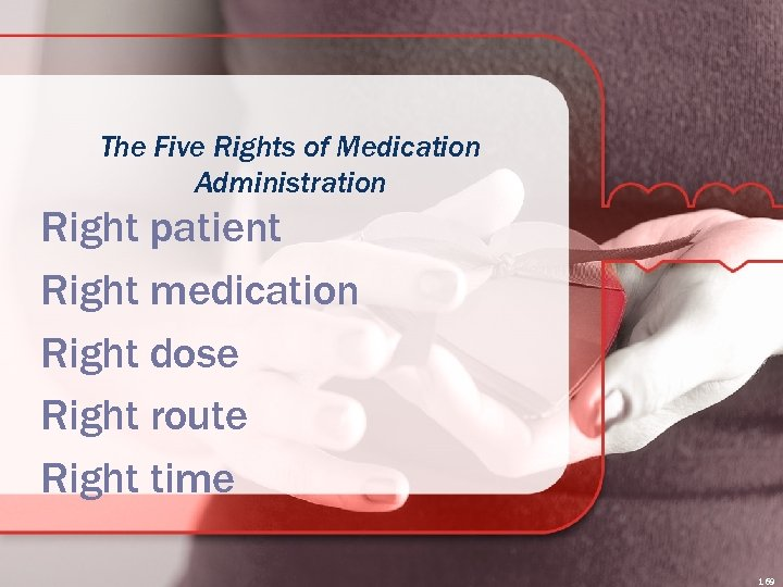 The Five Rights of Medication Administration Right patient Right medication Right dose Right route