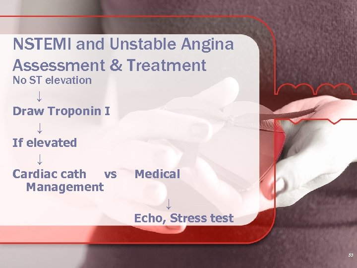 NSTEMI and Unstable Angina Assessment & Treatment No ST elevation ↓ Draw Troponin I