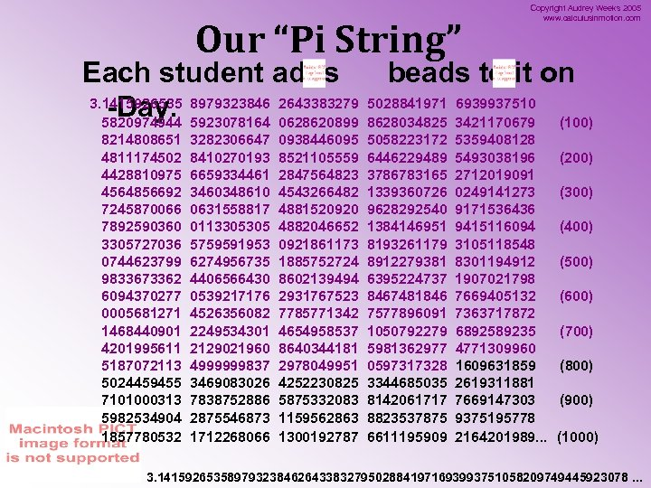 "Our ""Pi String"" Copyright Audrey Weeks 2005 www. calculusinmotion. com Each student adds beads"