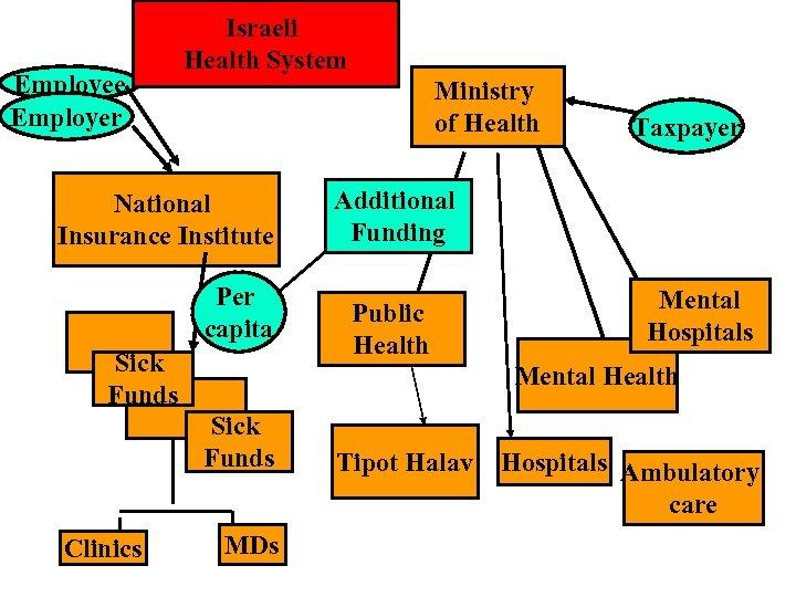 Employee Employer Israeli Health System Ministry of Health National Insurance Institute Per capita Sick