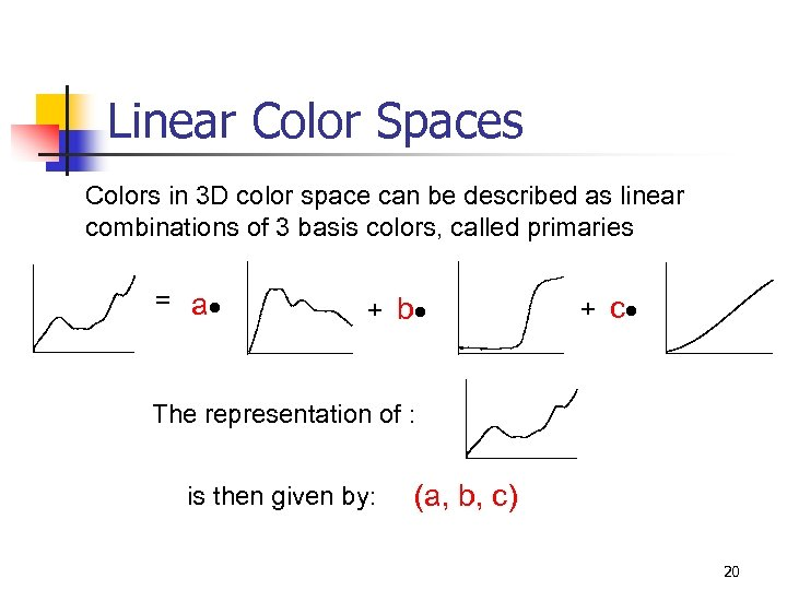 Linear Color Spaces Colors in 3 D color space can be described as linear