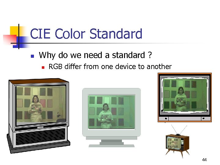 CIE Color Standard n Why do we need a standard ? n RGB differ