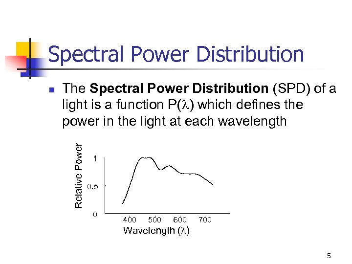 Spectral Power Distribution The Spectral Power Distribution (SPD) of a light is a function
