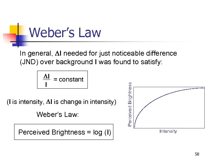 Weber's Law DI = constant I (I is intensity, DI is change in intensity)