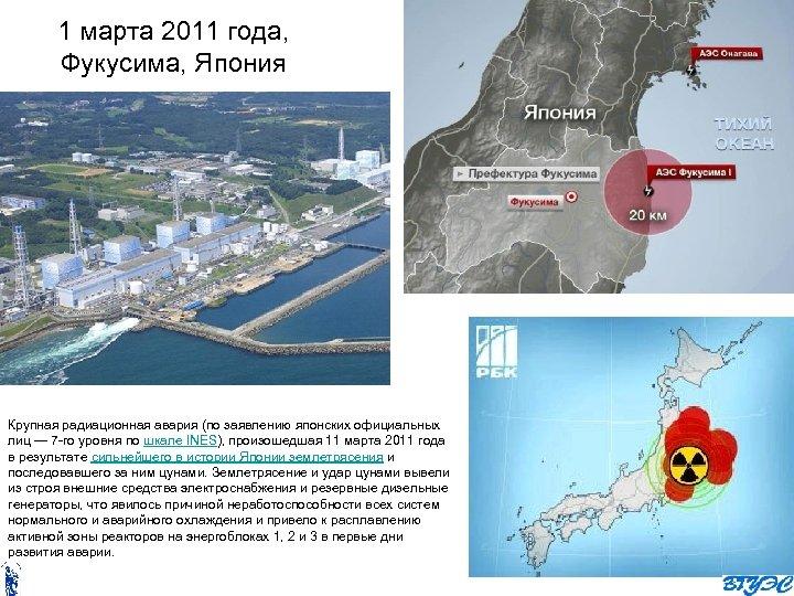 1 марта 2011 года, Фукусима, Япония Крупная радиационная авария (по заявлению японских официальных лиц