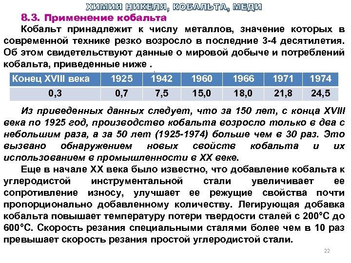 ХИМИЯ НИКЕЛЯ, КОБАЛЬТА, МЕДИ 8. 3. Применение кобальта Кобальт принадлежит к числу металлов, значение