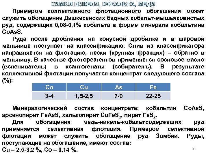 ХИМИЯ НИКЕЛЯ, КОБАЛЬТА, МЕДИ Примером коллективного флотационного обогащения может служить обогащение Дашкесанских бедных кобальт